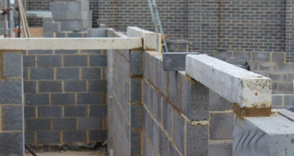 Precast lintels installed in a build