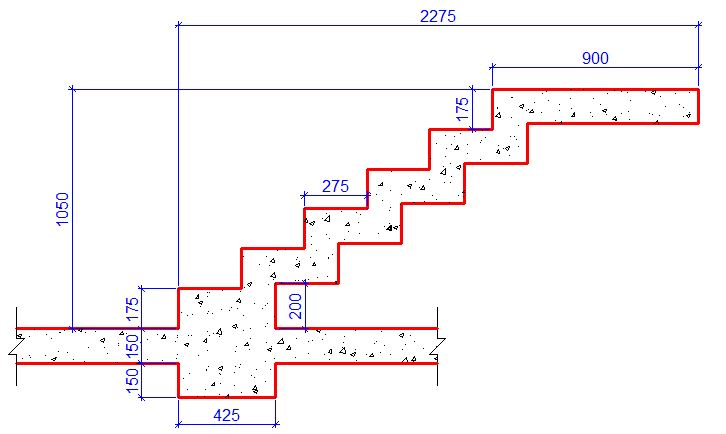 Typical section of a free-standing sawtooth staircase