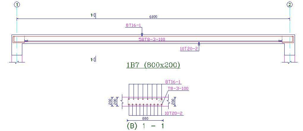 Reinforcement detailing of a hidden beam